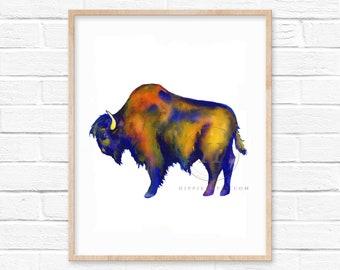 Buffalo Bison Watercolor Print Colorful Art