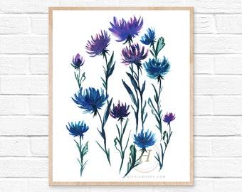 Flower, Watercolor Print, Modern Art by HippieHoppy