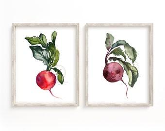 Radish and Beet Watercolor Print Set of 2 Wall Art