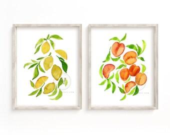 Fruit, watercolor print, set of 2, lemon art, peaches art