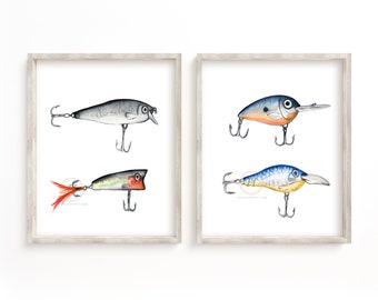 Fishing Lures Set of 2 Prints, Watercolor Hook Art, Wall Art