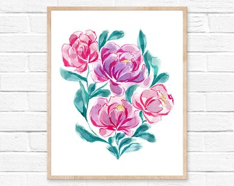 Pink Flower Watercolor Painting Flower Prints Flower Watercolors Pink Flower Wall Art Flower Wall Decor Floral Art Floral Wall Decor Floral