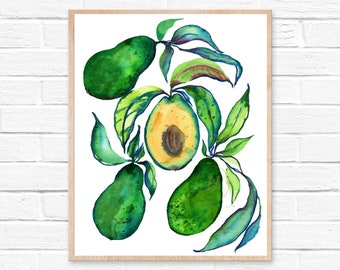 Avocado Art Print Kitchen Decor by HippieHoppy