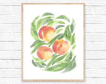 Watercolor Peaches Print No.101, Watercolor Abstract Pech, Peach Art Watercolor Painting, Peach Art Decor, Wall Art Peaches, Kitchen Art