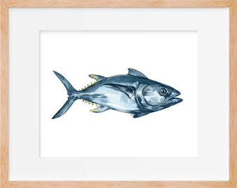 Tuna Fish Print, Tuna Art, Tuna Watercolor, Fish Art, Fishing Decor, Fish Wall Art, Beach Cottage, Watercolor Painting, Home Decor, Art