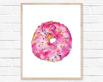 donut watercolor doughnut donut watercolor donut art donut painting kitchen art donuts painting sprinkles watercolor painting donut print