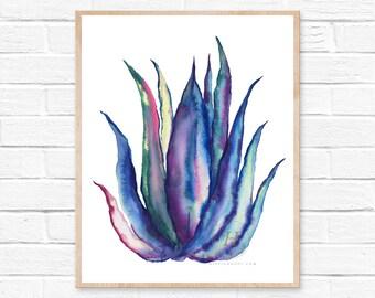 Cactus Watercolor Print Cacti Decor