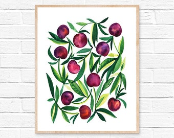cherry watercolor cherry cherries watercolor watercolor painting kitchen decor kitchen art kitchen wall art cherry painting watercolor print