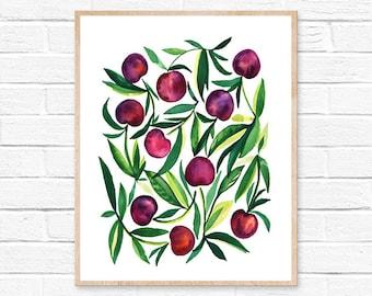 cherry watercolor print