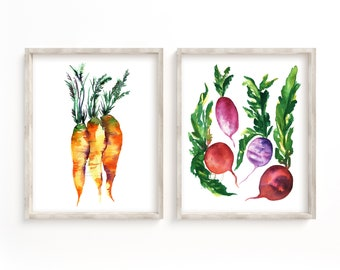 Rooted Vegetable Prints Set of 2, Watercolor Radish and Carrot Art