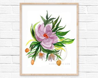 Flower Watercolor Print Wall Art