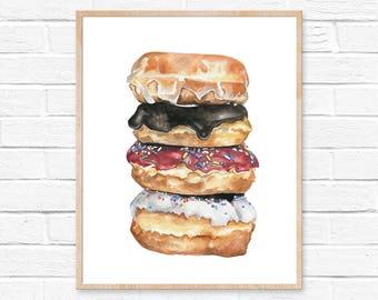Donut Print No.1 Donut Wall Art Sweets Print Food Art Print Doughnut Print Kitchen Decor Doughnut Illustration Doughnut Wall Art Foodie Art