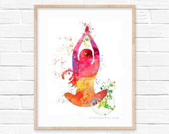 Meditation Zen Yoga Watercolor Print