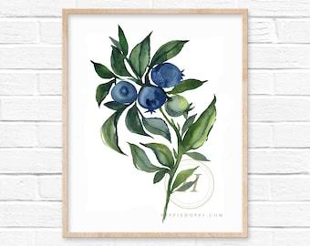 Blueberry Watercolor Art Print