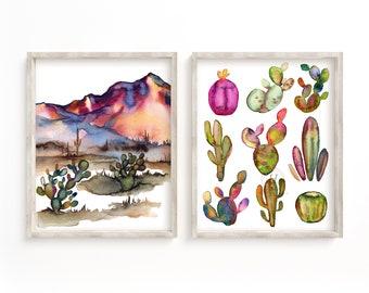 Arizona, Desert, Art Print, Set of 2