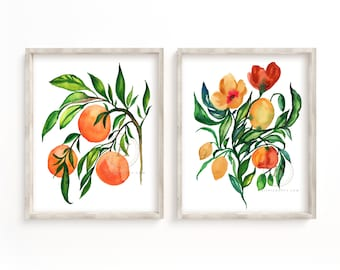 Flowers and Oranges Watercolor Print Set of 2