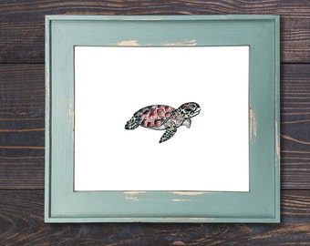 Small Sea Turtle, Watercolor Painting, Print, Turtle art