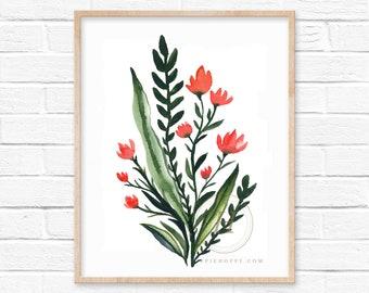 Large Floral Pink Watercolor Print