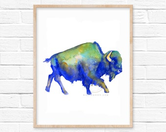 Large Colorful Bison Watercolor Print