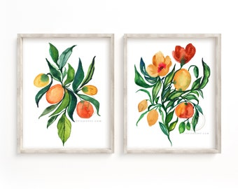 Flowers and Oranges Watercolor Prints Set of 2 by HippieHoppy