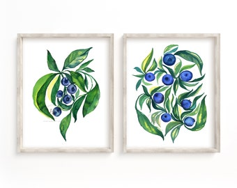 Blueberry set of 2, Watercolor Blueberries Decor, Wall Art