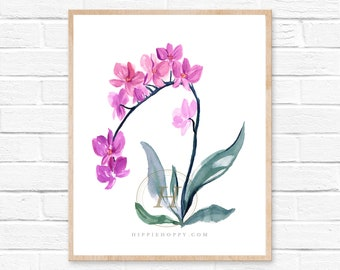 Pink orchid print, Watercolor art, Home decor