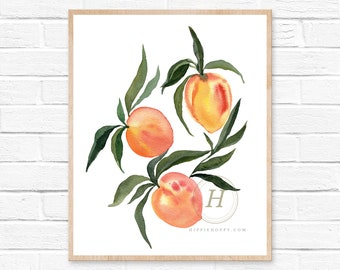 Apricot Print, Kitchen Wall Art Decor, Watercolor Painting, Gift for mom, Her, Kitchen , Watercolor fruit prints