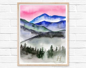 Watercolor Forest, Watercolor Mountains, Watercolor Pine Trees, Forest, Woodland Watercolor, Watercolor Nursery, Mountains print