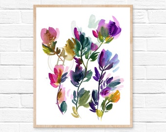 Flower abstract print, Watercolor flowers, Wall art