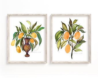 Kumquats Watercolor Art Print set of 2