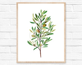 olive branch watercolor olive greenery wedding olive watercolor branch olive branches green watercolor print olive branch print watercolor