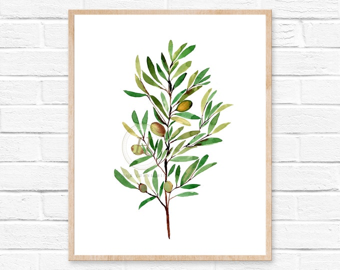 Featured listing image: olive branch watercolor olive greenery wedding olive watercolor branch olive branches green watercolor print olive branch print watercolor