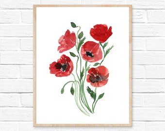 Red Poppy Watercolor, Flower Art Print, Poppies, Poppy Wall Art, Poppy Print, Flower Watercolor, Painting, Floral Print, Giclee Quality