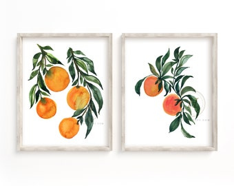 Orange Branches, Watercolor Prints, Set of 2 by HippieHoppy
