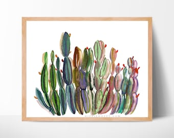 Cactus Colorful Watercolor Art Print Cacti by HippieHoppy