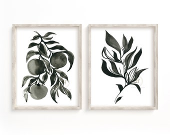 Black and White Watercolor Prints set of 2