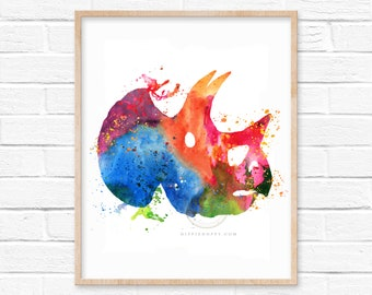 Dinosaur Bones Watercolor Print