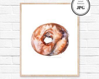 Donut Art, Donuts printables, Food art print, Food illustration, Watercolor Art Print, Donut print, Kitchen print, Food painting, Donuts Art