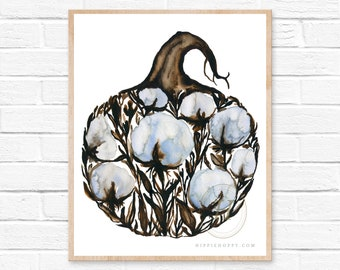 Fall Pumpkin, Cotton, Botanical Watercolor Print, Modern Art by HippieHoppy