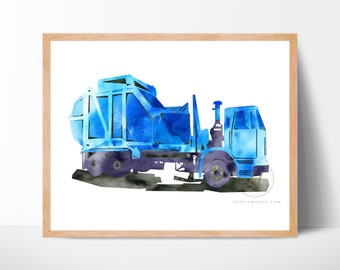 Blue Trash Truck Watercolor Print Side Loader