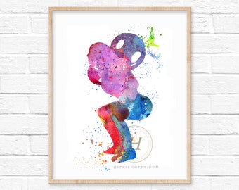 Fitness Squat Watercolor Print Exercise Art