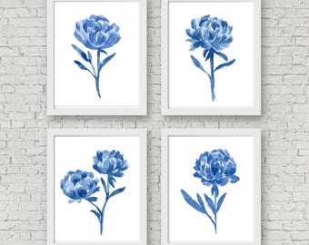Blue Peony Flowers Set, 4 Abstract Peonies Watercolor Painting, Blue Walercolor Prints, Blue Floral Paintings, Blue Art Flowers, Wall Art