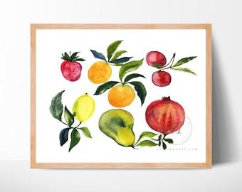 Fruit Watercolor Print Kitchen Art