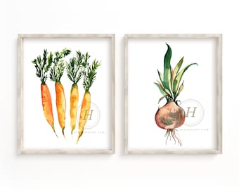 Carrot and Onion Watercolor Prints set of 2