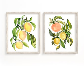 Fruit Watercolor Set of 2 Prints