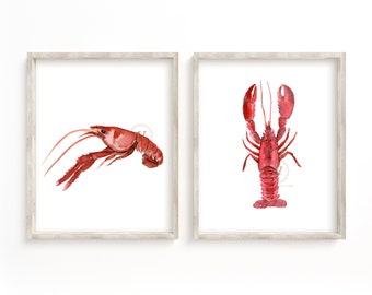 Crawfish Watercolor Prints, Set of 2, Kitchen Wall Art
