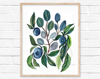 Eucalyptus and Blueberries Watercolor Print
