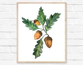watercolor acorn acorn watercolor autumn acorns fall fall leaves thanksgiving watercolor painting print acorn print art acorn art painting