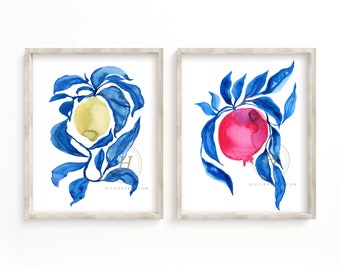 Pomegranate and Lemon Watercolor Prints set of 2