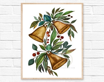 Christmas Bells Watercolor Print